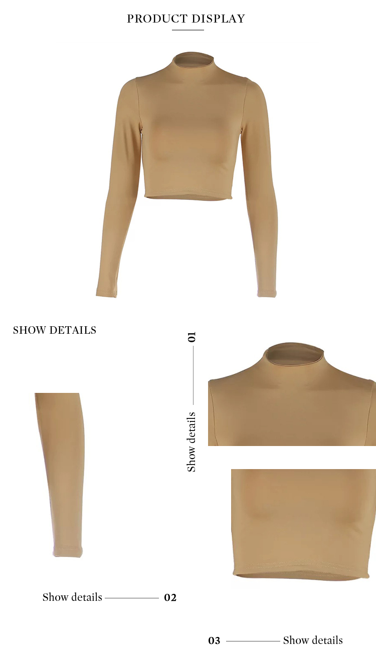 Unique Designed Sexy Lightweight Pure Color Short Crop Long Sleeve Turtleneck Bottom Shirt
