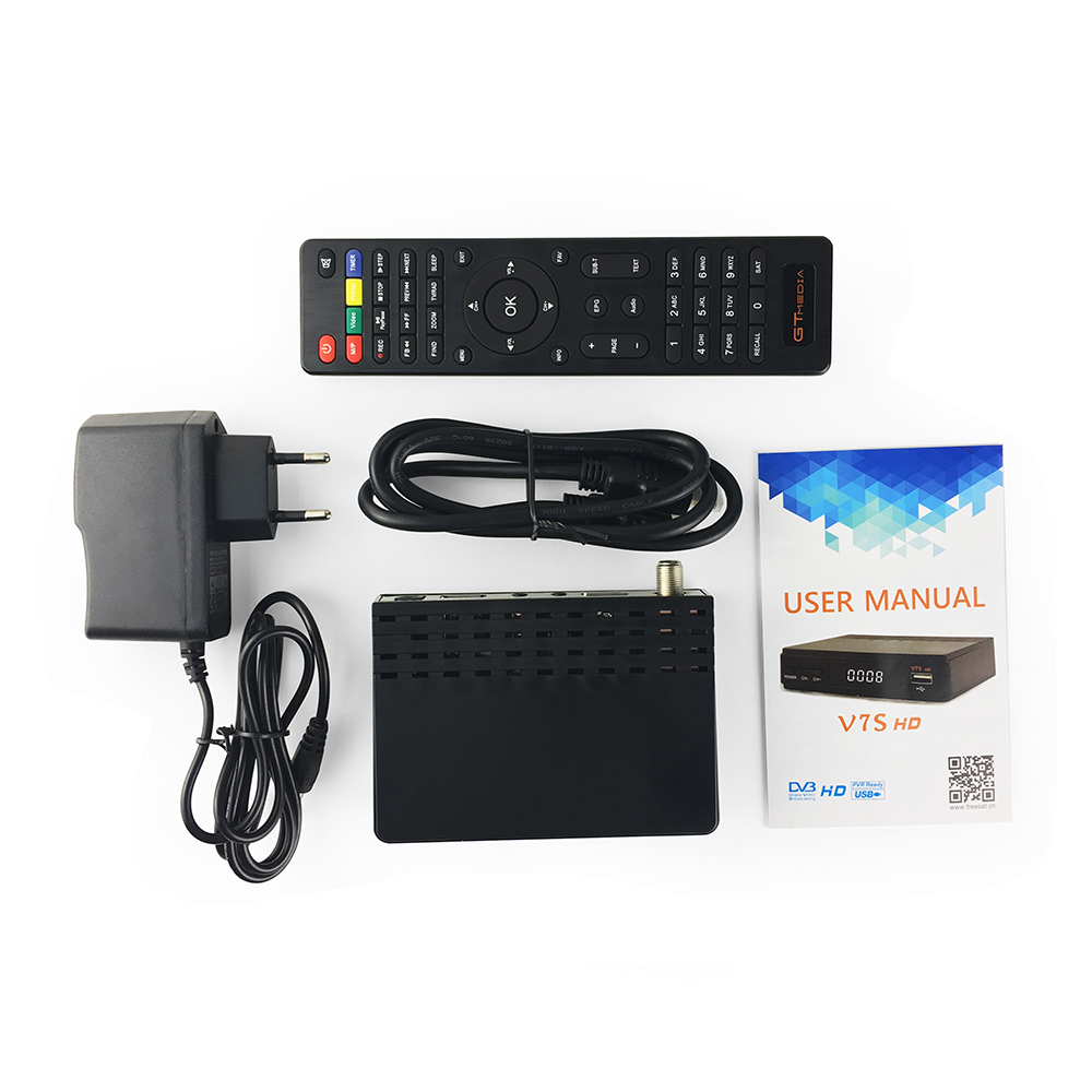 FREESAT V7S HD DVB-S2 Full HD 1080P wifi Satellite TV Receiver Support PowerVu Biss Key Newcamd + 1pc AV Cable + USB Wifi