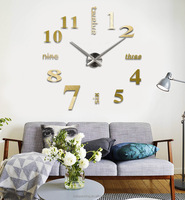 DIY Large Wall Clock 3D Acrylic Sticker Big Size Home Office Decor 3D Wall Clock