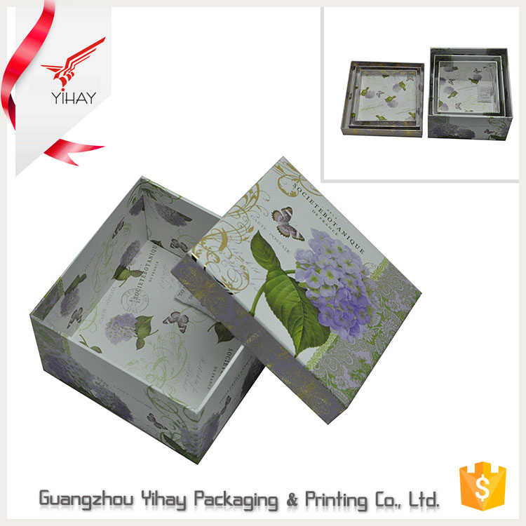 Luxury Custom Logo Printed Elegant Flower Paper Large Square Cardboard Gift Boxes With Lid