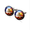 America flag time precious stones glass cufflinks men 's best man clothing cufflinks wholesale