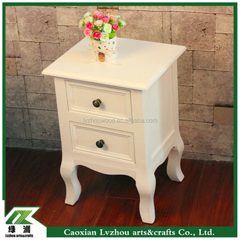 Modern White Nightstand Bedside Table With Two Drawers