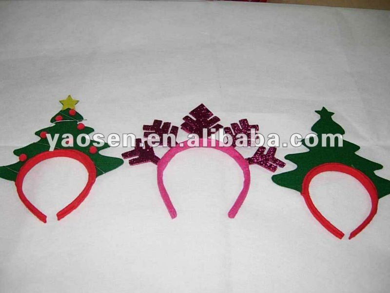 Fieltro verde patrón de árbol de Navidad diadema