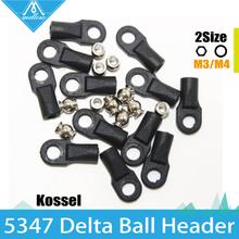 12 Pcs Reprap Delta Kossel Delta Mini 5347 Buckle For M3 M4 Ball Caps Parallel Arm Rod Carbon Rod Joints 12 handles & 12 Balls