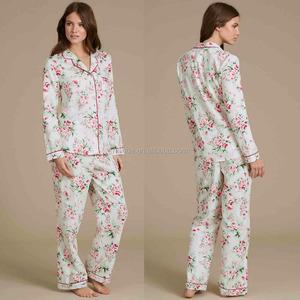 Pyjamas Caluby Wholesale Pure Cotton Floral Print Revere Collar Pyjamas  Women