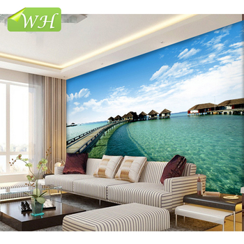 Customized Large Murals Maldives Sea View 3d Wallpaper Bedroom Living Room  TV Background Wallpaper