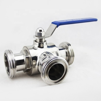 SS304 316L sanitary stainless steel three way ball valve 3 inch valve 4 way ball valve