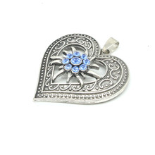 Vintage 40mm Tono Argento Cuore di Amore Del Fiore <span class=keywords><strong>Edelweiss</strong></span> <span class=keywords><strong>Pendente</strong></span>/Fascino