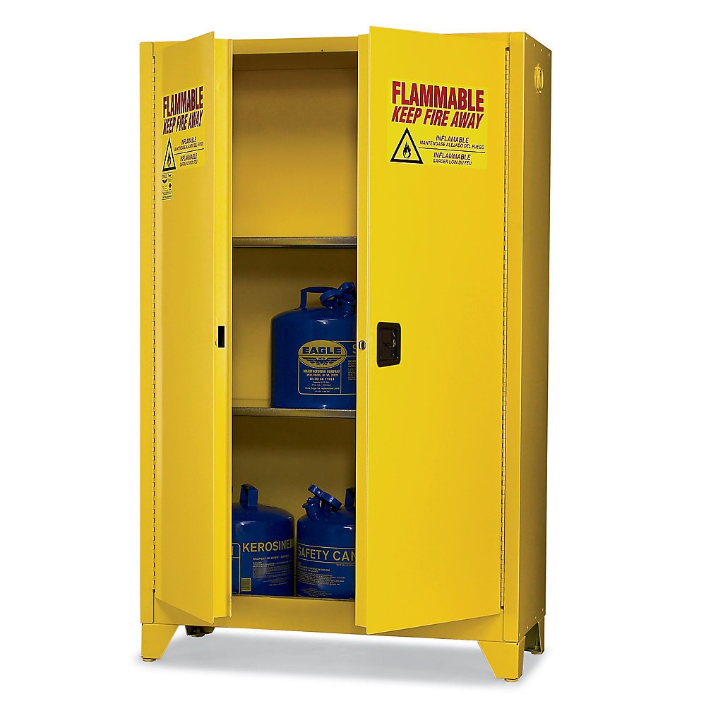 "Eagle 1992LEGS Tower Safety Cabinet for Flammable Liquids, 2 Door Manual Close, 90 gallon, 69""Height, 43""Width, 34""Depth, Steel, Yellow"