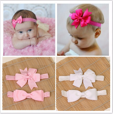 5837c9c81f498 2pcs set hair accessories elastic bands ribbon bows kids infant baby  headband girls bow headbands satin flower hairband headwear