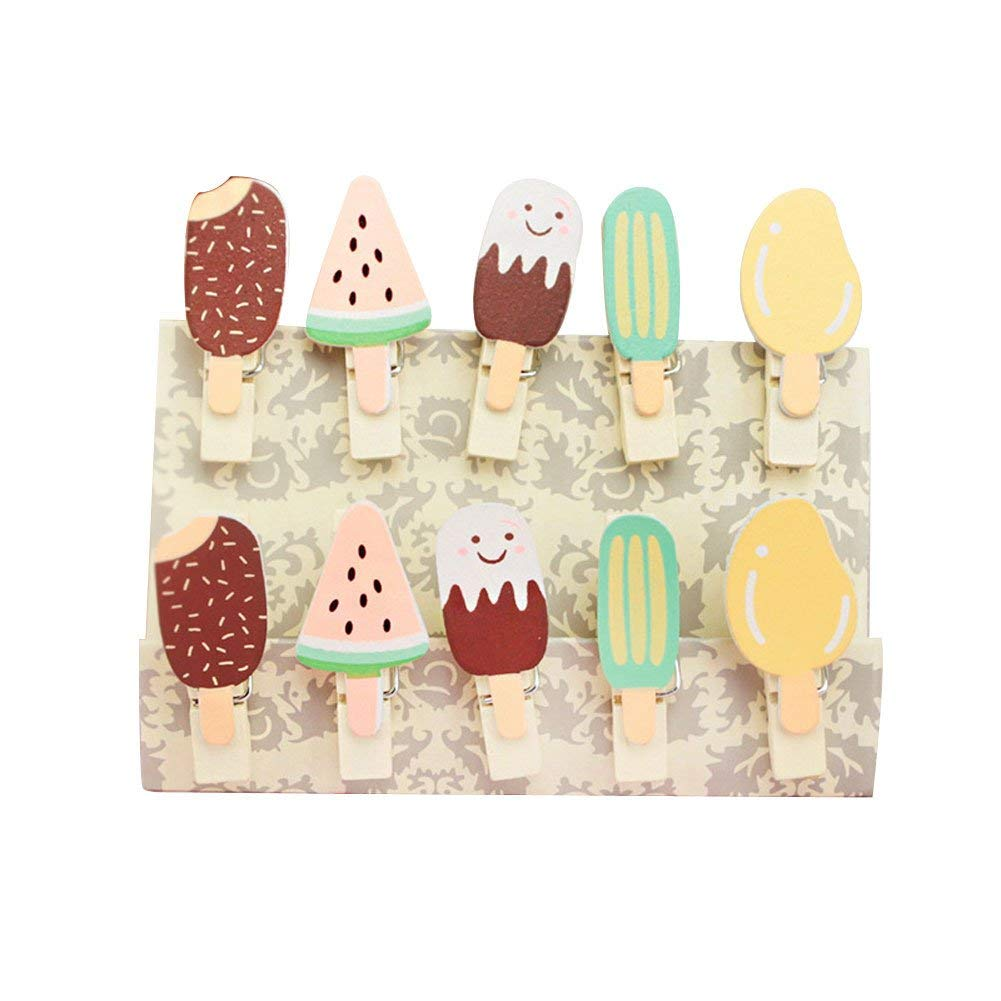 ANJUY Ice Cream Wooden Photo Clips with Jute Twine,Wooden Paper Pegs,Photo Wooden Clips,Pin Clothespin Craft,Birthday Party Decorated Favors,10PCS/Pack,5 Packs