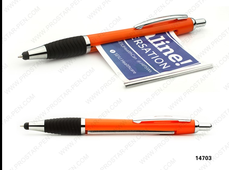 Promotional pen with pull out paper