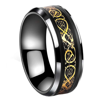 Inspire Jewelry Black Gold Celtic Dragon Ring Wedding Band