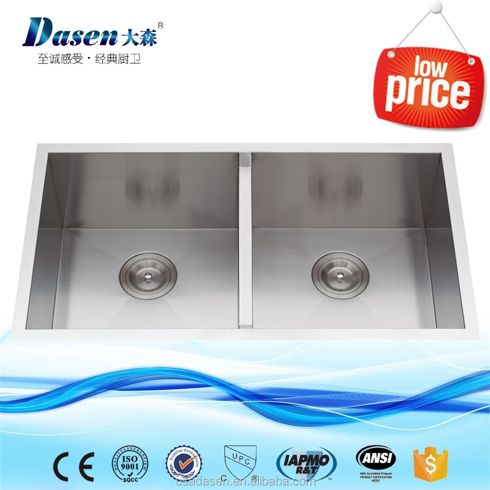 Twin bowl SUS 304 custom made stainless steel 32 x 18 inch 16 gauge used kitchen sinks 50/50 undermount