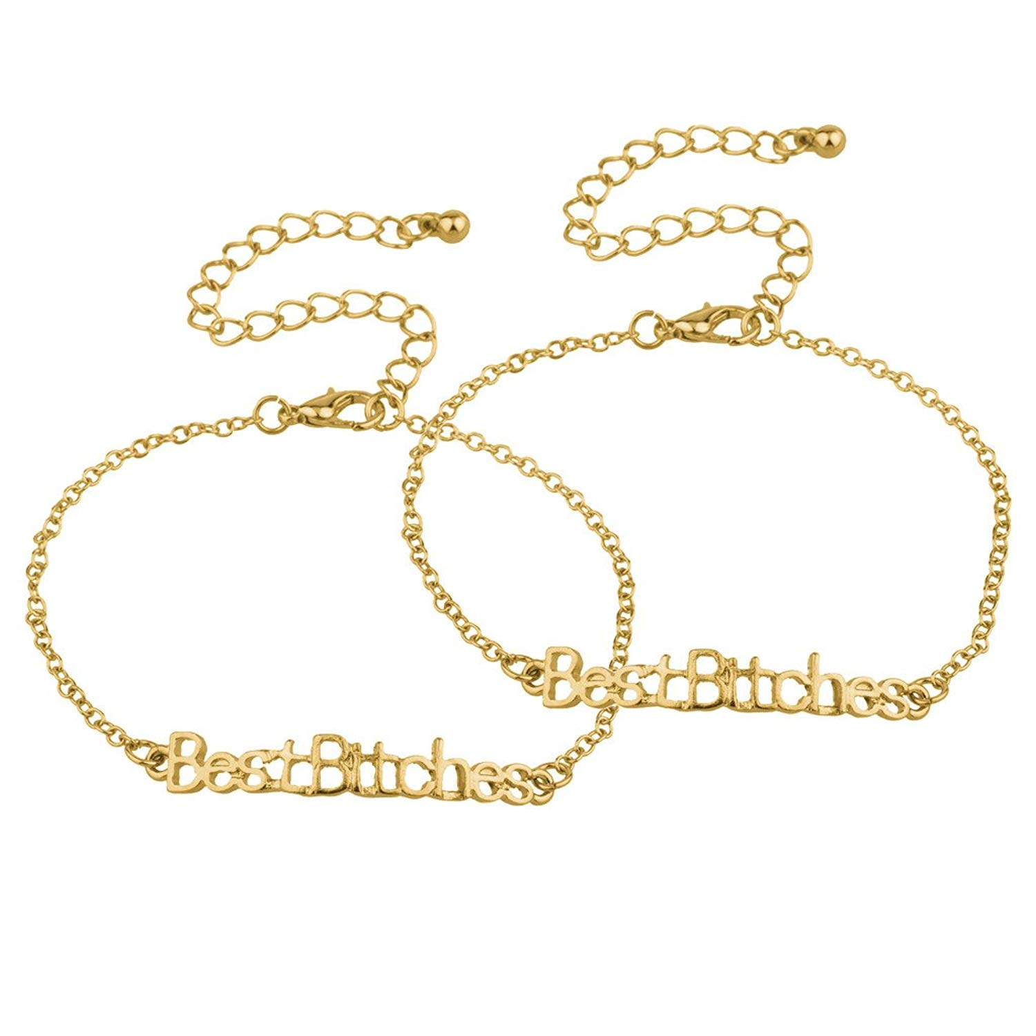 Lux Accessories Best Bitches BFF Best Friends Forever Matching Chain Link Bracelets
