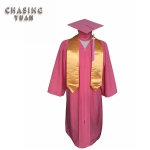 Pink High School Graduation Gown Cap and Plain Stole