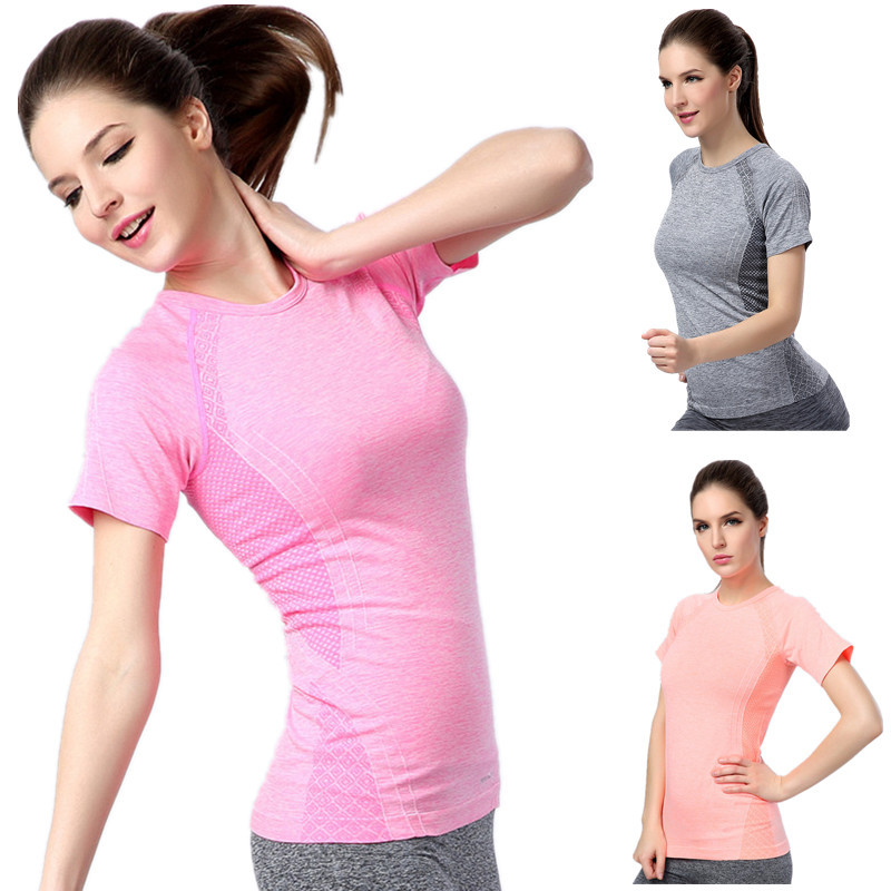 2015 Women Professional Sports Running T Shirt O-Neck Quick Dry Elastic Breathable Tops Short Sleeve Workout Fitness Sportswear