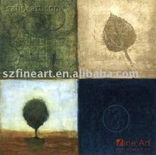 New Design four panels trees Abstract oil Painting for Home Decoration