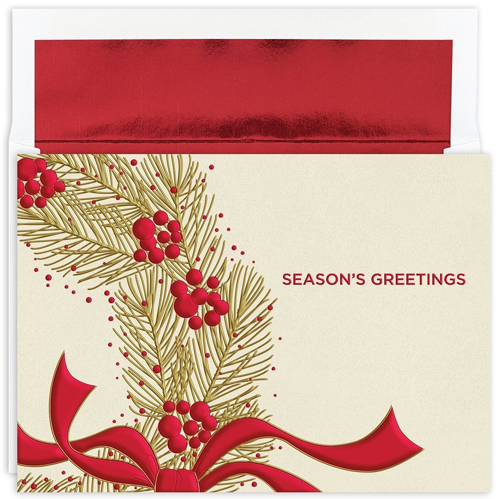 """Great Papers! Holiday Greeting Card, Wreath with Berries, 16 Cards/16 Foil-Lined Envelopes, 7.875"""" x 5.625"""" (895100)"""