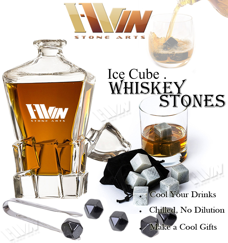 9pcs Natural Chill Stones and 2pcs Square Glass in Premium Whiskey Gift Box