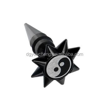 Ying Yang Logo Espiga Cónica Falsa Oreja Piercing Joyería Para