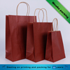Solid color kermesinus kraft paper bags,shopping bags with paper twist handle