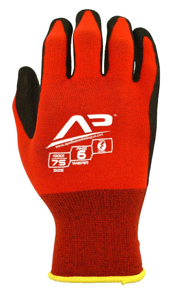 Apollo Performance Work Gloves 2, Tool Grabber Glove with NeverSlip Technology, 15 Gauge Nylon/Lycra Knit, Abrasion protection, Touch Screen Capabilities with Lightning Touch Technology, 1 Pair, Medium, Red/Black