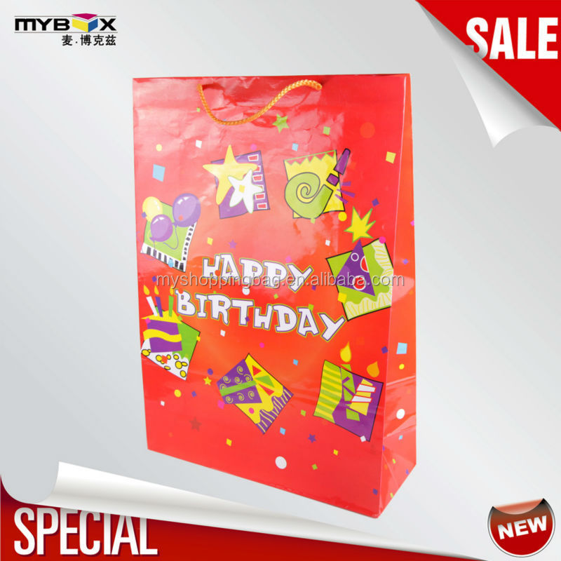 Festival fun attractive color foldable durable best price high quality paper birthday gift bag