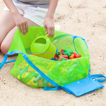 bceb598cd21 Mesh Tote Bag Clothes Toys Carry Sand Away Beach Bag Baby Toy Collection Bag