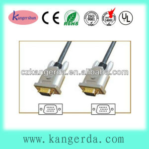 high quality metal shell gold plated black color male vga cable