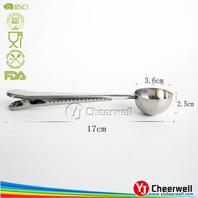 stainless steel coffee scoop and tea scoop with bag clip