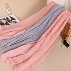 fashion soft long double side solid cotton scarf wrinkle hijab shawls oversize muslim women crumple scarf wholesale