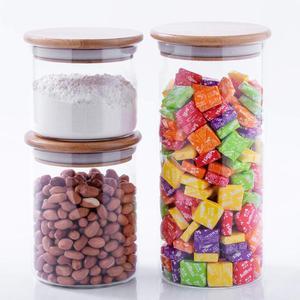 24/35/60 ounces Glass Storage Jar Bamboo Lid Jar Candy Jar with Wooden Lids