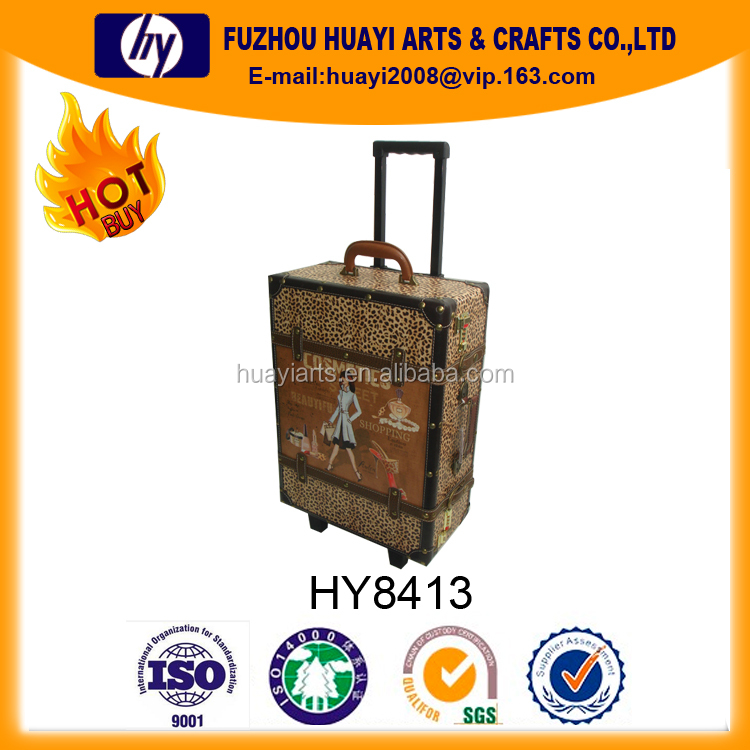 Wooden Wheeled Trolley ,color print draw-bar box ,luggage bag