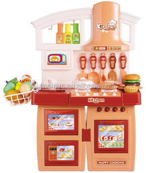 New Kids Diy Indoor Toys Big Kitchen Tableware Sets With Music Light