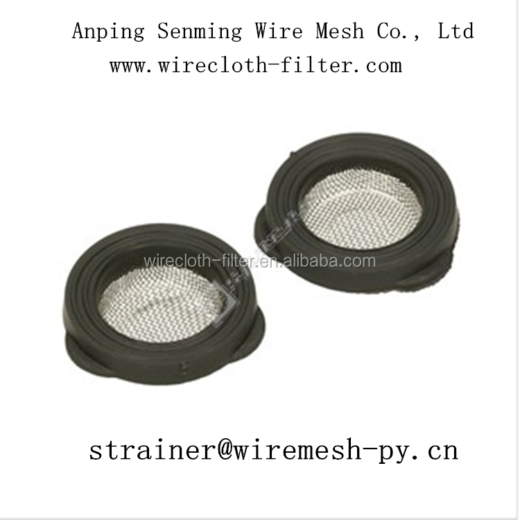 Trade assurance rubber&plastic bound stainless steel mesh washer hose filter