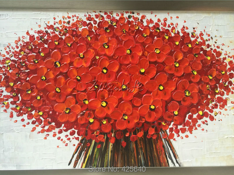 Wall Painting Flower Hand Painted palette knife 3D texture flower Hand  Painted Canvas Oil Painting Wall Pictures For Living Room