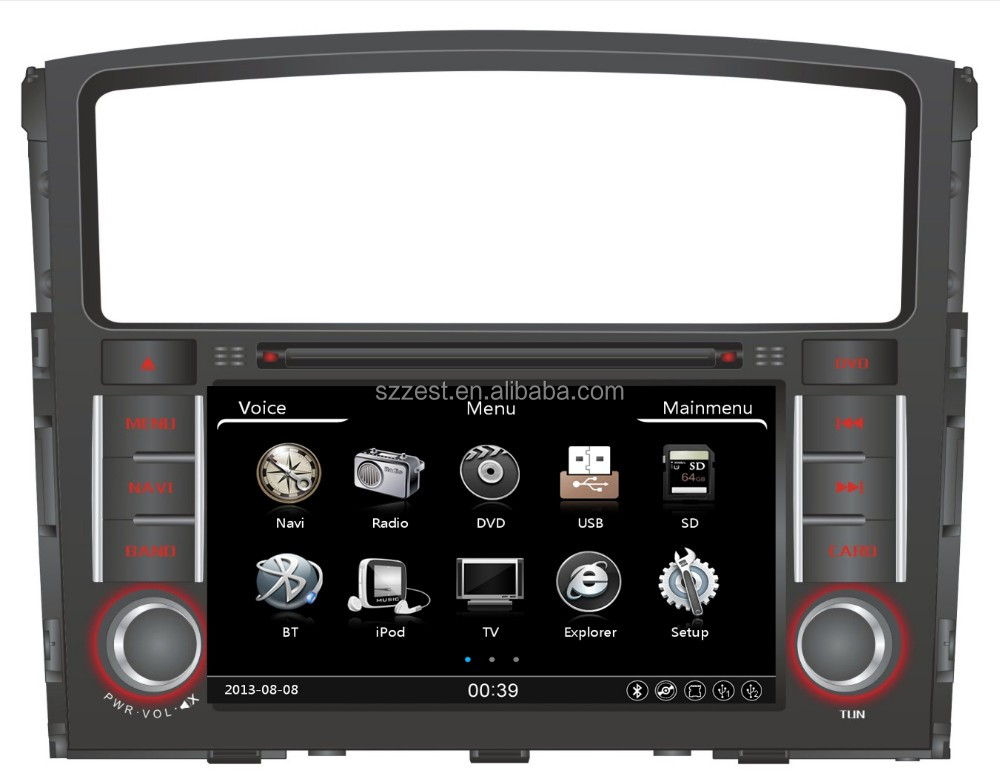 2016 Car Dvd GPS Radio bluetooth steering wheel, touch screen car dvd for mitsubishi pajero/