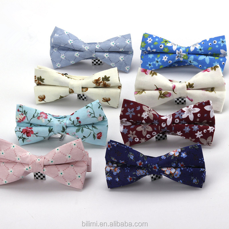 Fashion Cotton Men Bow Ties Floral tie neckties spot pattern square retro fresh printing Butterfly