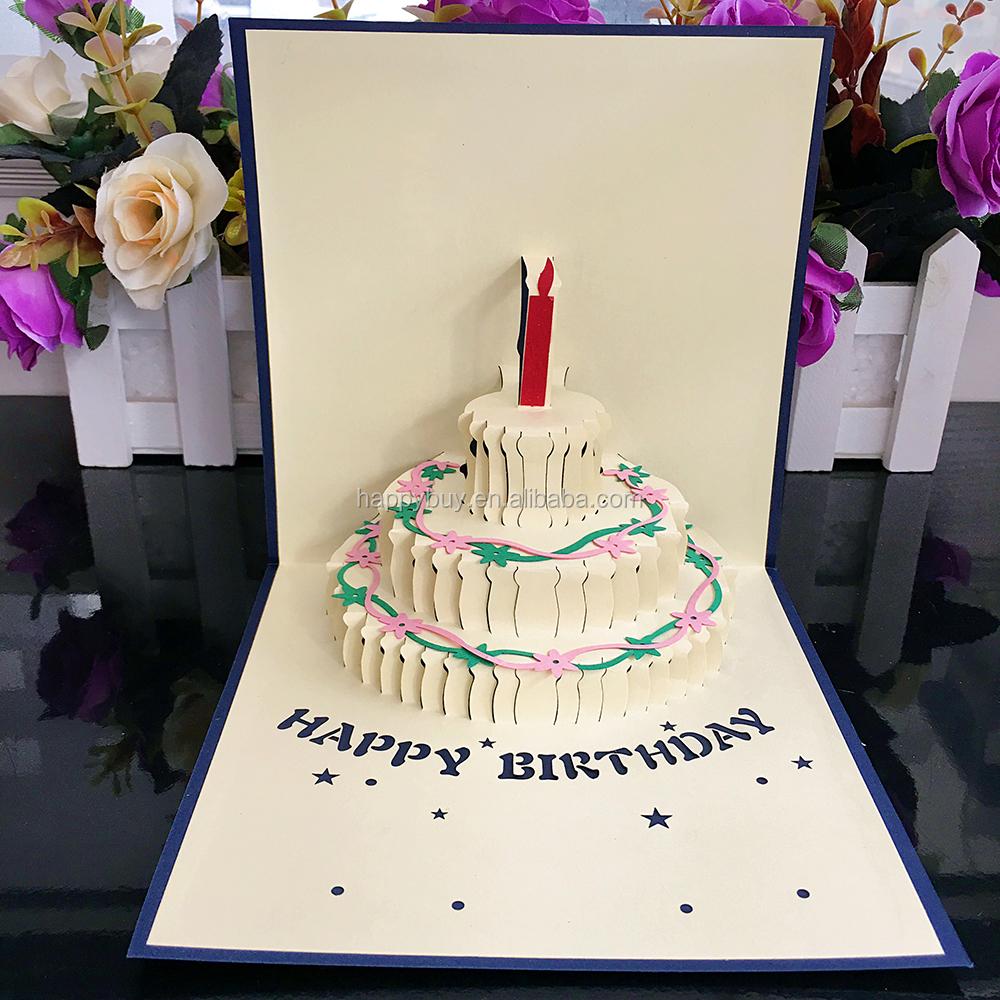 2013 New Design Laser Cutting 3d Pop Up Birthday Cake Greeting Card