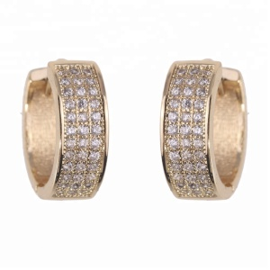 Brazilian Style Micro Zircon Diamond Paved Latest New Design Fashion CZ Gold Huggie Hinged Hoop Earrings Women