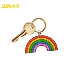 Free Design Service Cheap Customized Meta Rainbow Hard Enamel Metal Keychains for Sale