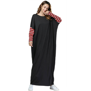 Zakiyyah 7457 Black Knitting Muslim Dress For Women Burqa Style Bat-swing Sleeve Butterfly Abaya Ramadan Clothing Collection