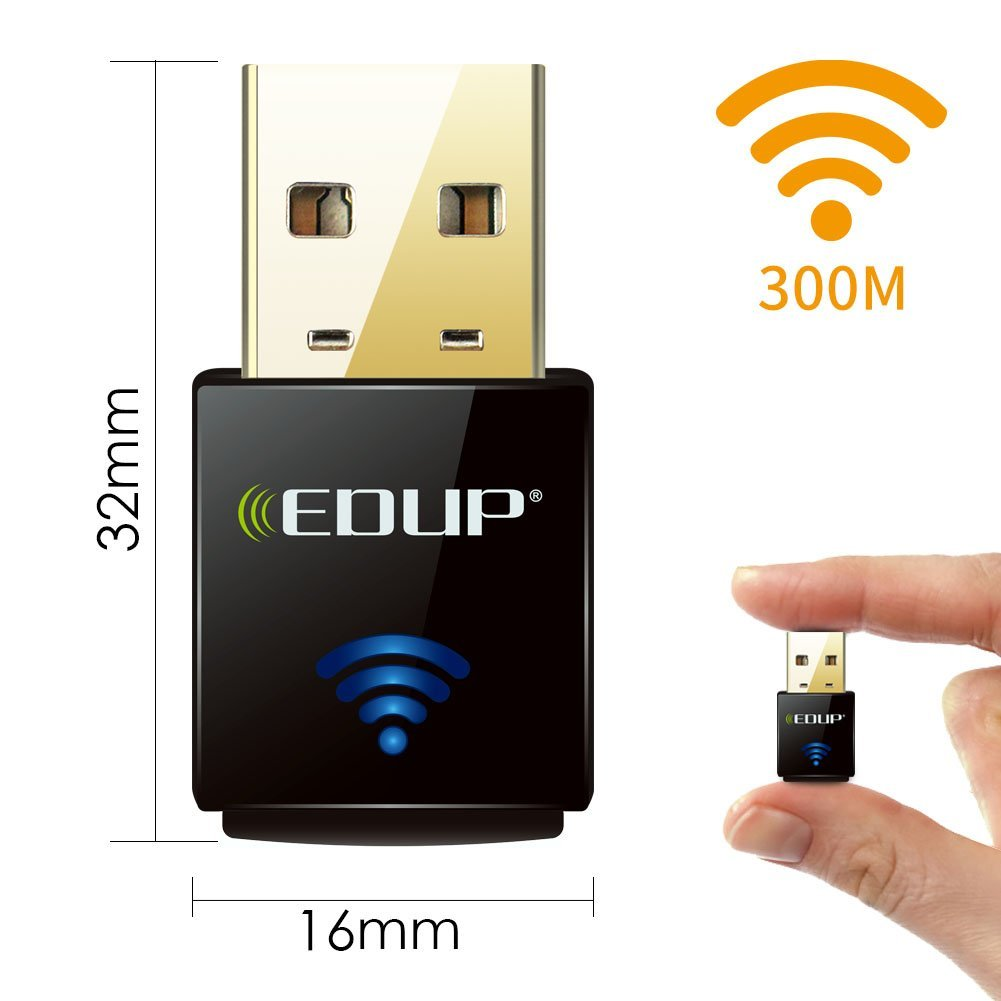 EDUP Wifi Adapter Nano 300Mbps Usb network card for Raspberry Pi / Pi2, Supports Windows, Mac 10.4-10.12, Linux