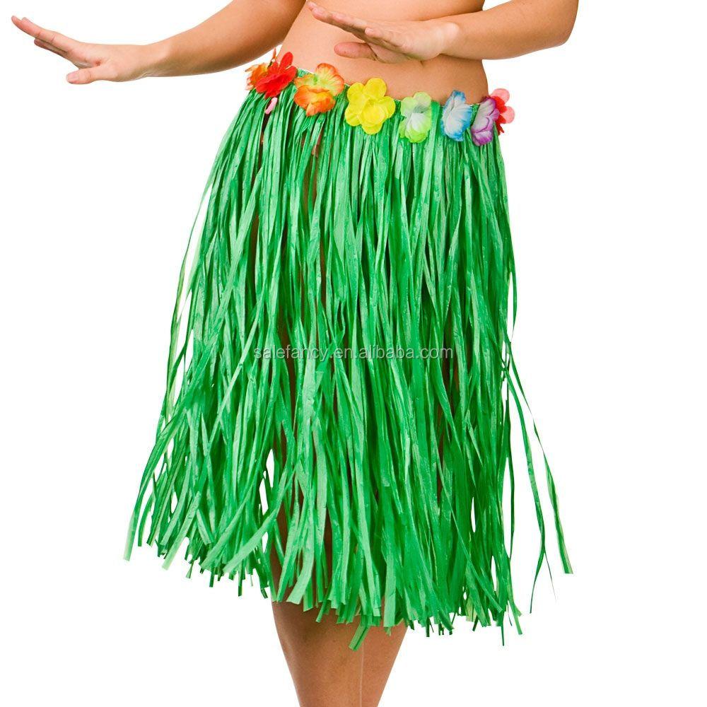 Hawaiian Hula Grass Skirt Fancy Dress Adult Costume With Flower Long Stylish HI