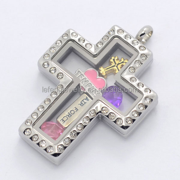 Hot sale stainless steel silver magnetic glass floating charms cross hot sale stainless steel silver magnetic glass floating charms cross locket pendant floating charm locket aloadofball Image collections