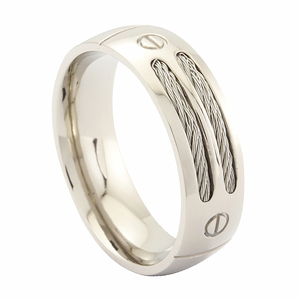 8MM Men's Titanium Ring Wedding Band with Stainless Steel Cables and Screw Design