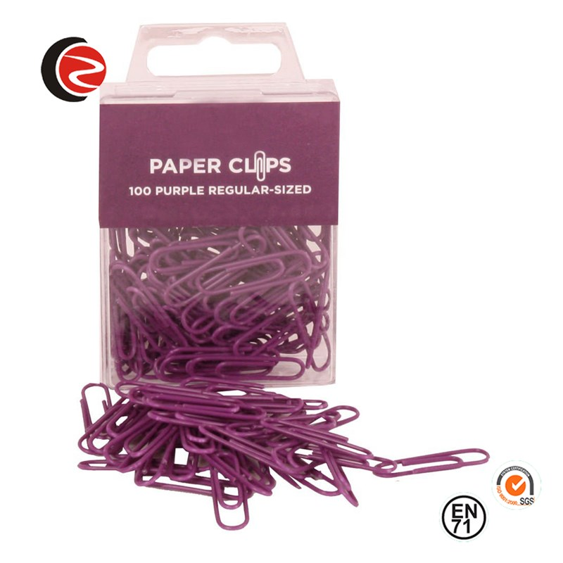 Paarse regelmatige 1 inch paperclips- 100 paperclips per verpakking