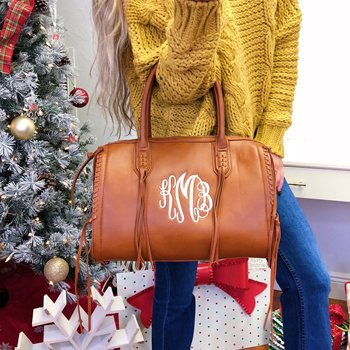 Monogram Vegan Leather Handbag Speedy Fringe Bag