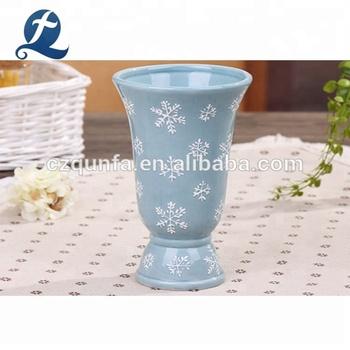 Mouth Vase Garden Display Stand Planter Ceramic Floor Pot